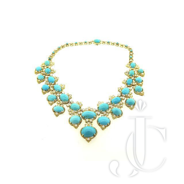 VAN CLEEF AND ARPELS 18KT YG TURQUOISE DIAMOND NECKLACE CIRCA 1970'S