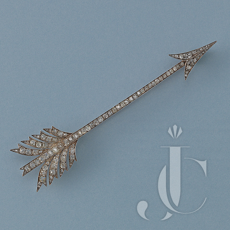 GOLD AND SILVER ARROW BROOCH WITH DIAMONDS by Linzeler Freres