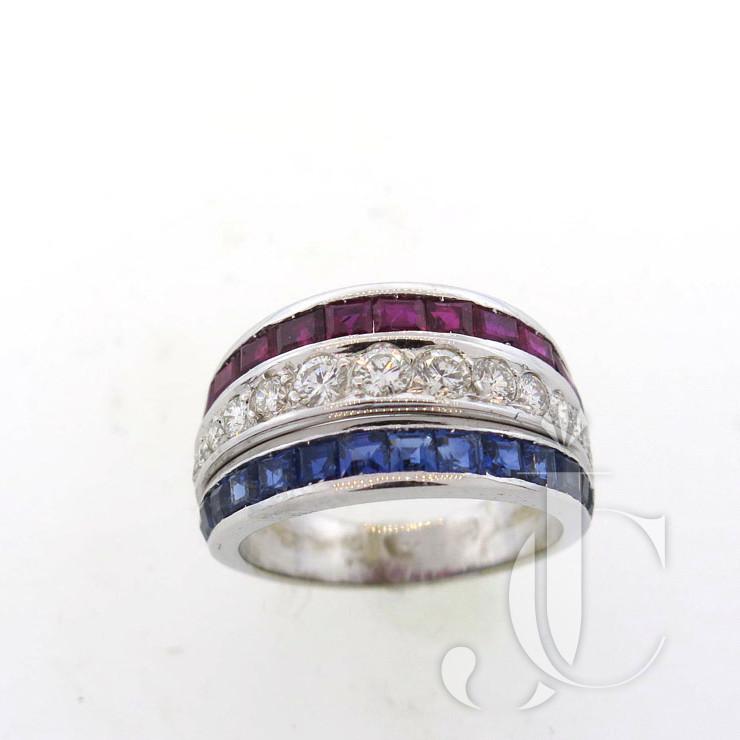 DIAMOND, SAPPHIRE & RUBY RING