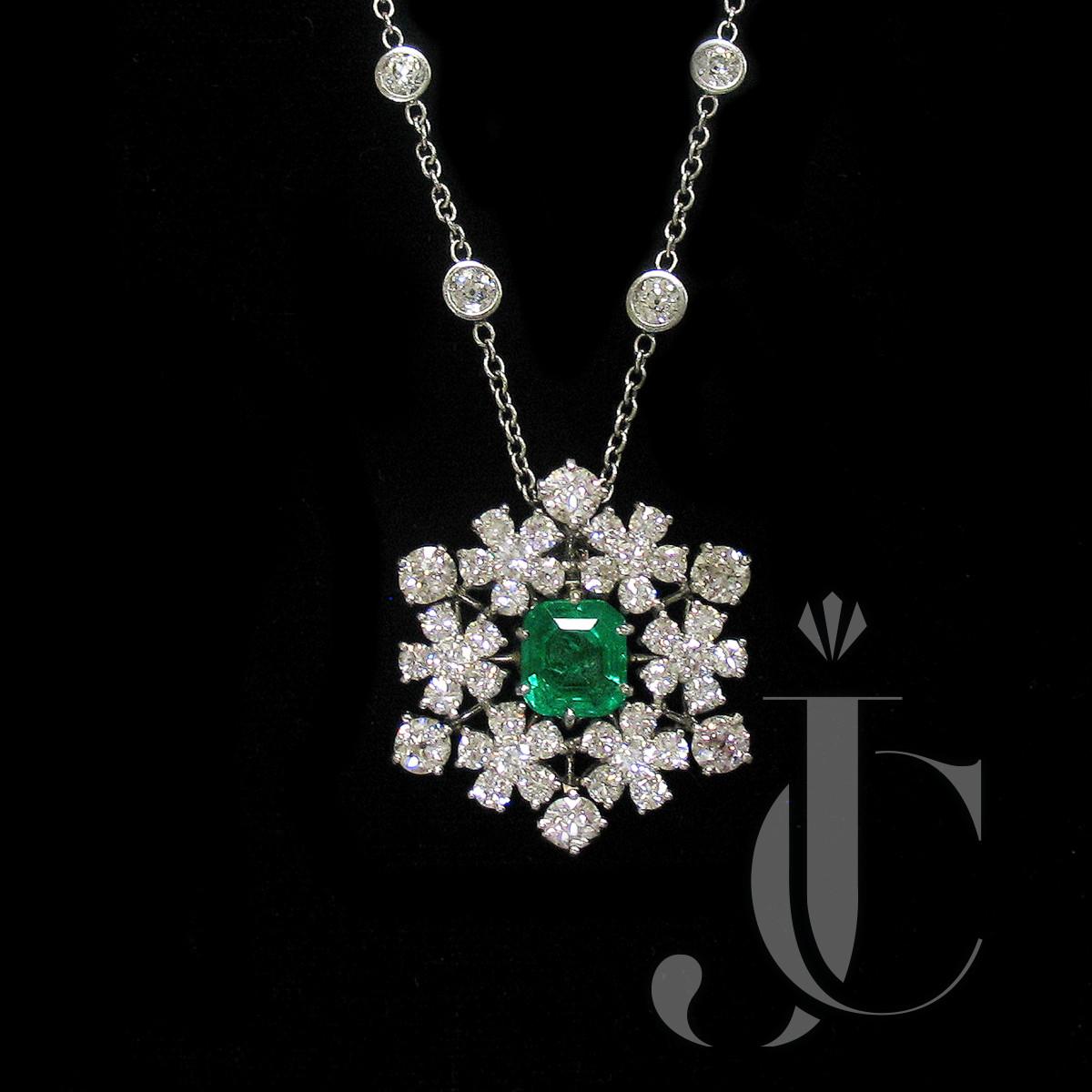 Platinum Emerald and Diamond Snowflake Pendant