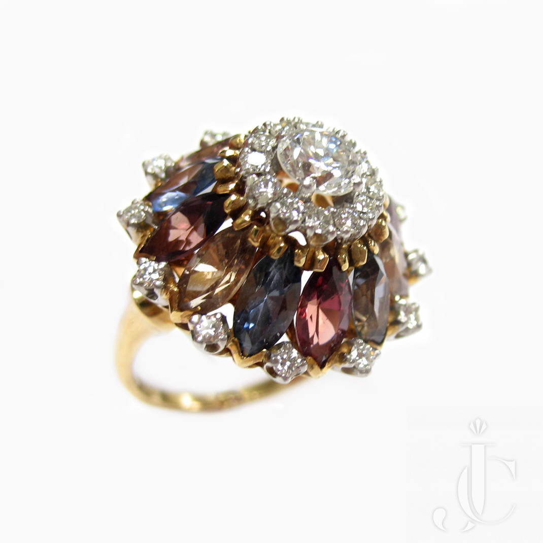 18kt Yellow Gold and Platinum, Color Stone and Diamond Dome Ring