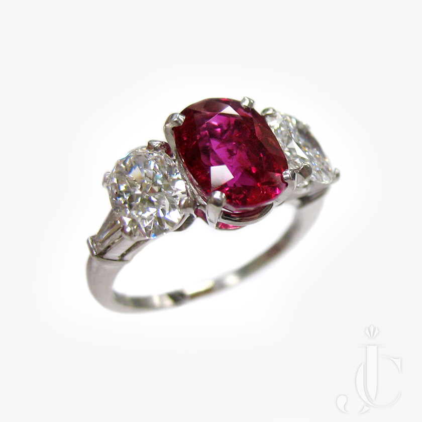Platinum Ruby and Diamonds  Three Stone Ring, circa 1955