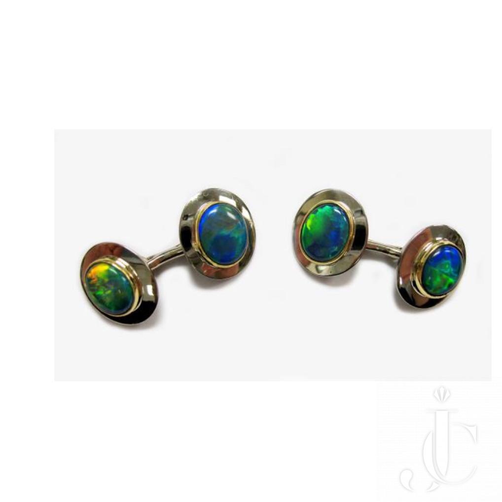 Pair 18kt Black Opal Double sided Cufflinks - Circa 1965
