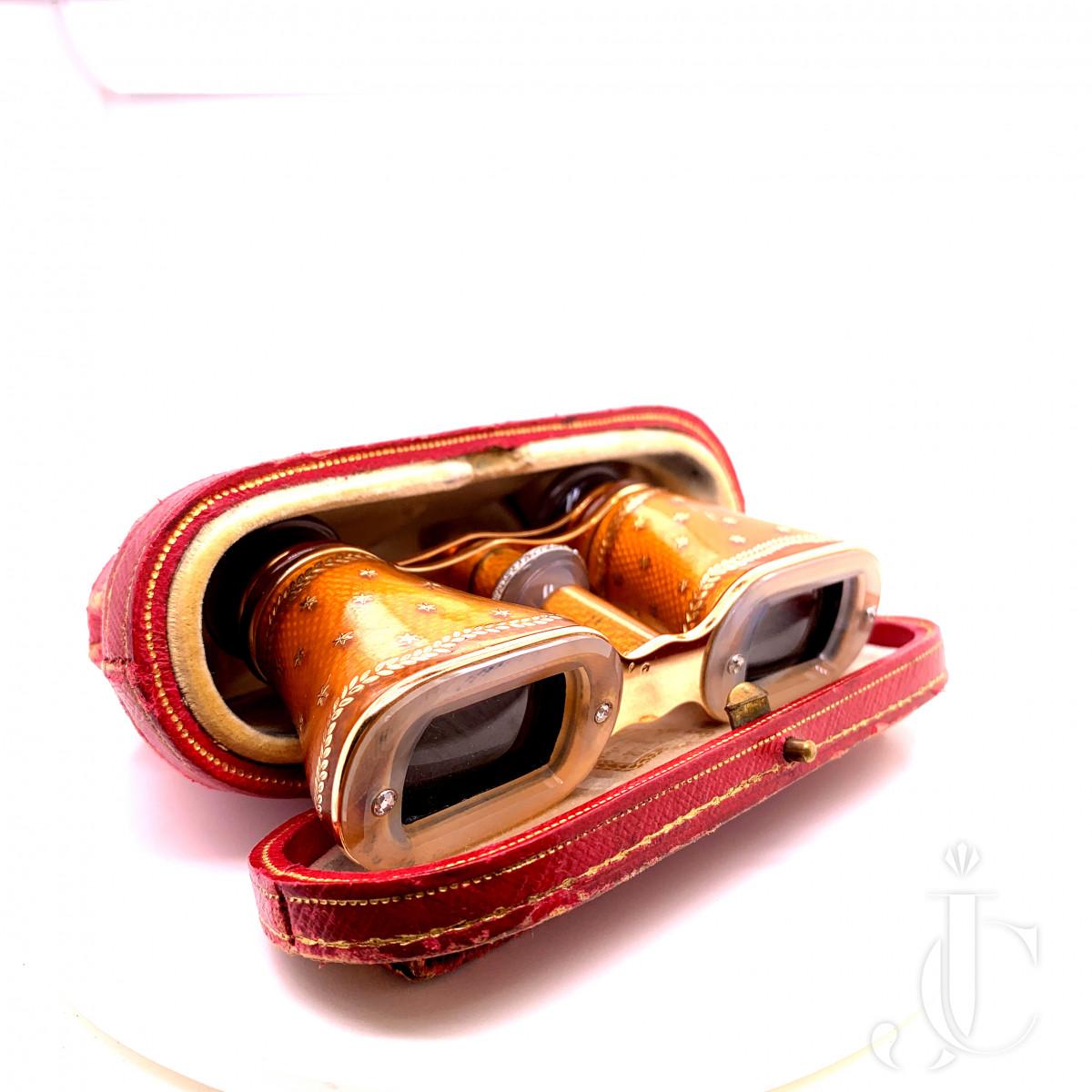 18k gold opera glasses, Guilloché gold,   agate, platinum, rose-cut diamonds.