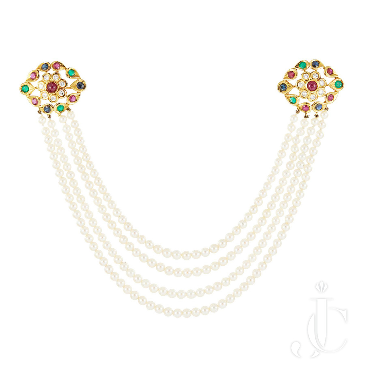 18k gold, coloured stones and pearls brooch, Cartier Paris