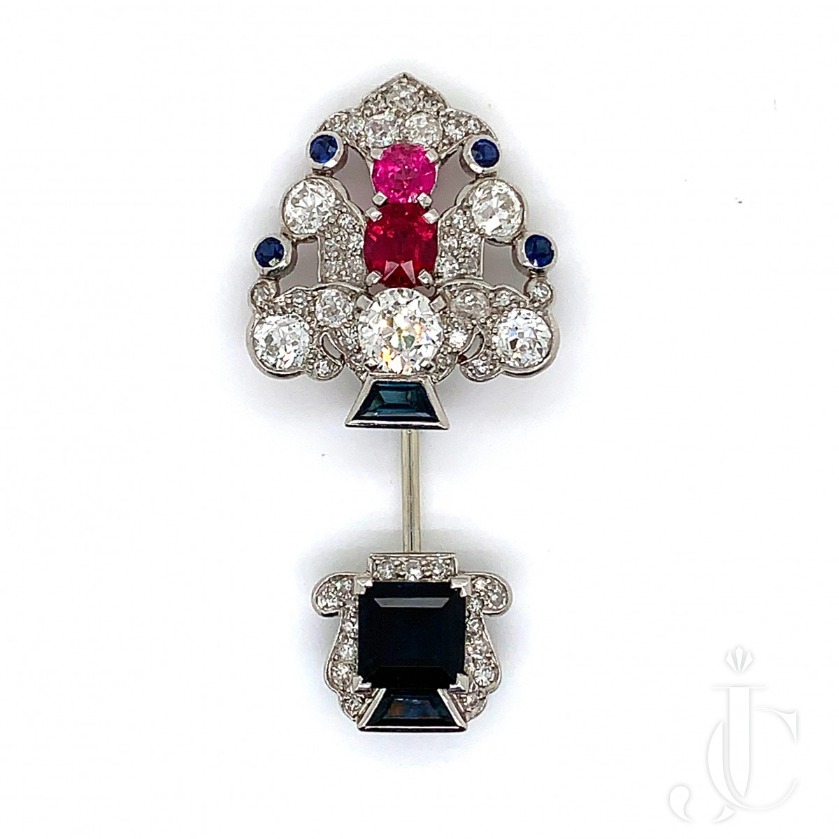 Platinum jabot with sapphire, ruby and diamond by Cartier