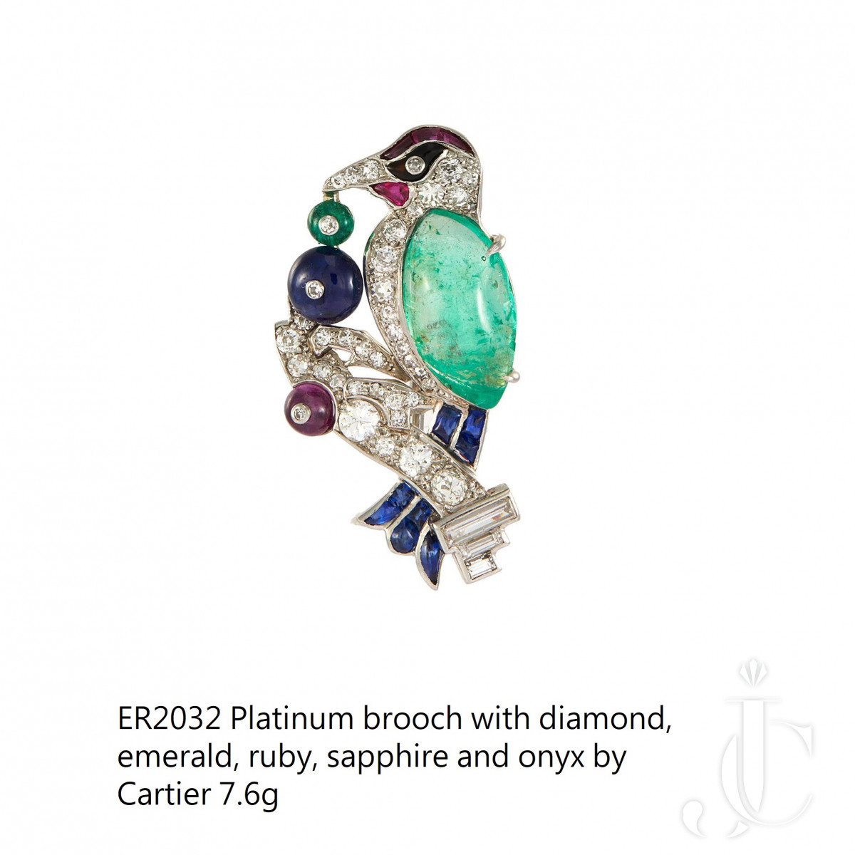 Platinum bird brooch with diamond, emeradl, ruby, sapphire and onyx by Cartier