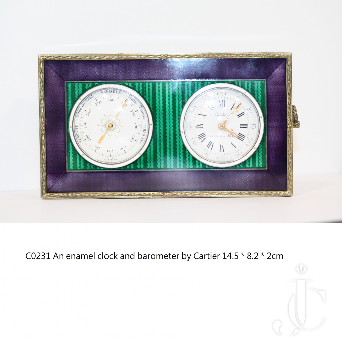 An 18k gold and silver enamel clock and barometer by Cartier