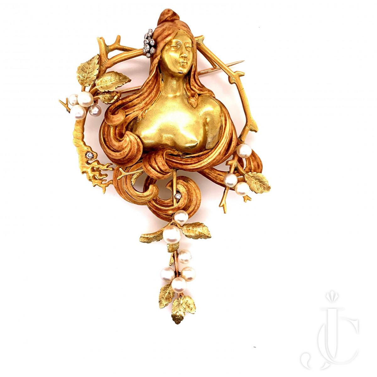 Art Nouveau 18kt Gold and Enamel Pendant/Brooch, Gabriel Falguieres