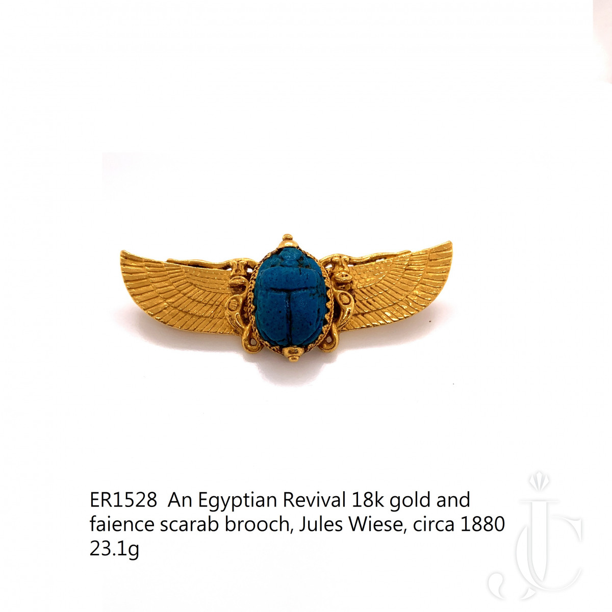 An Egyptian Revival 18k gold and faience scarab brooch, Jules Wiese, circa 1880