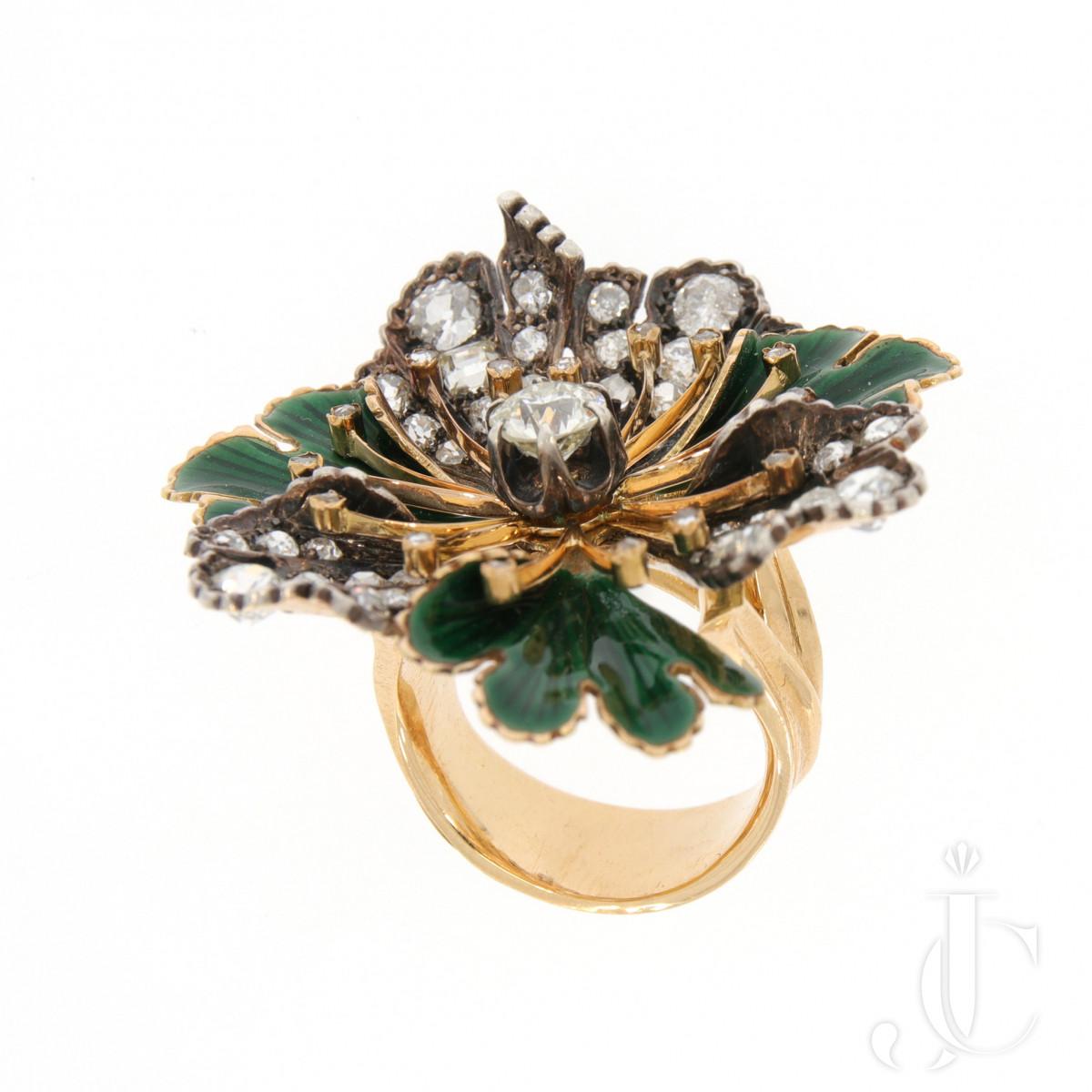 Diamond Enamel Flower Ring