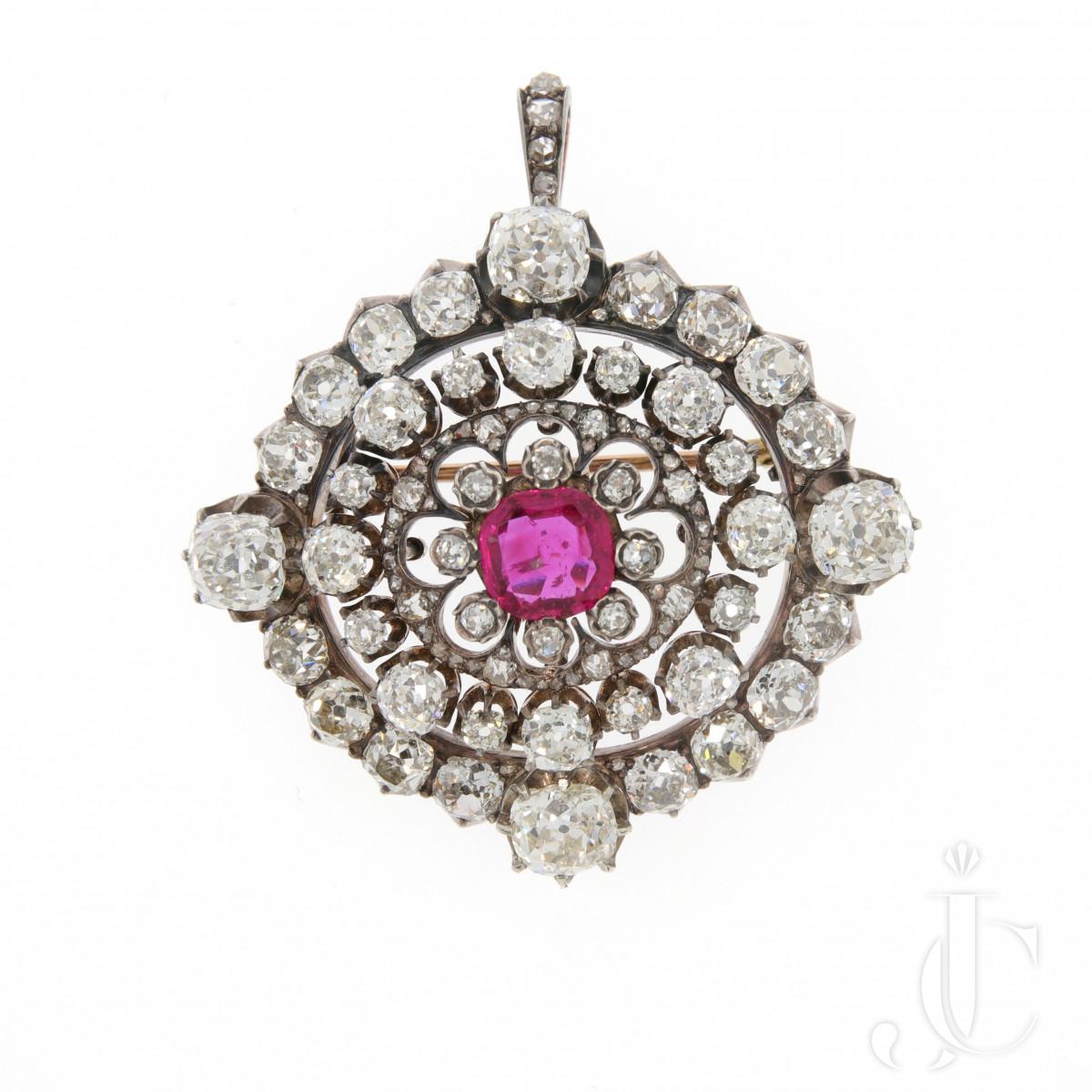 Diamond and Ruby Pendant/Brooch