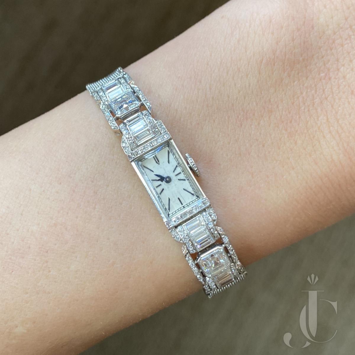 Platinum Diamonds Art Deco Ladies Watch