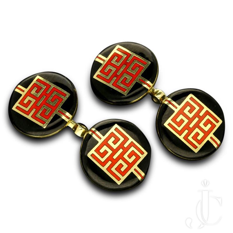 Cartier- Art Deco  Chinese dragon symbol 14k gold/enamel cufflinks