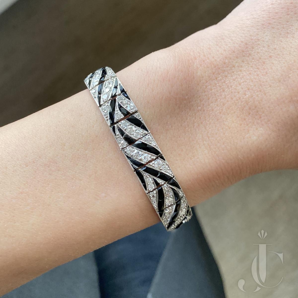 Platinum Onyx and Diamond Art Deco Bracelet