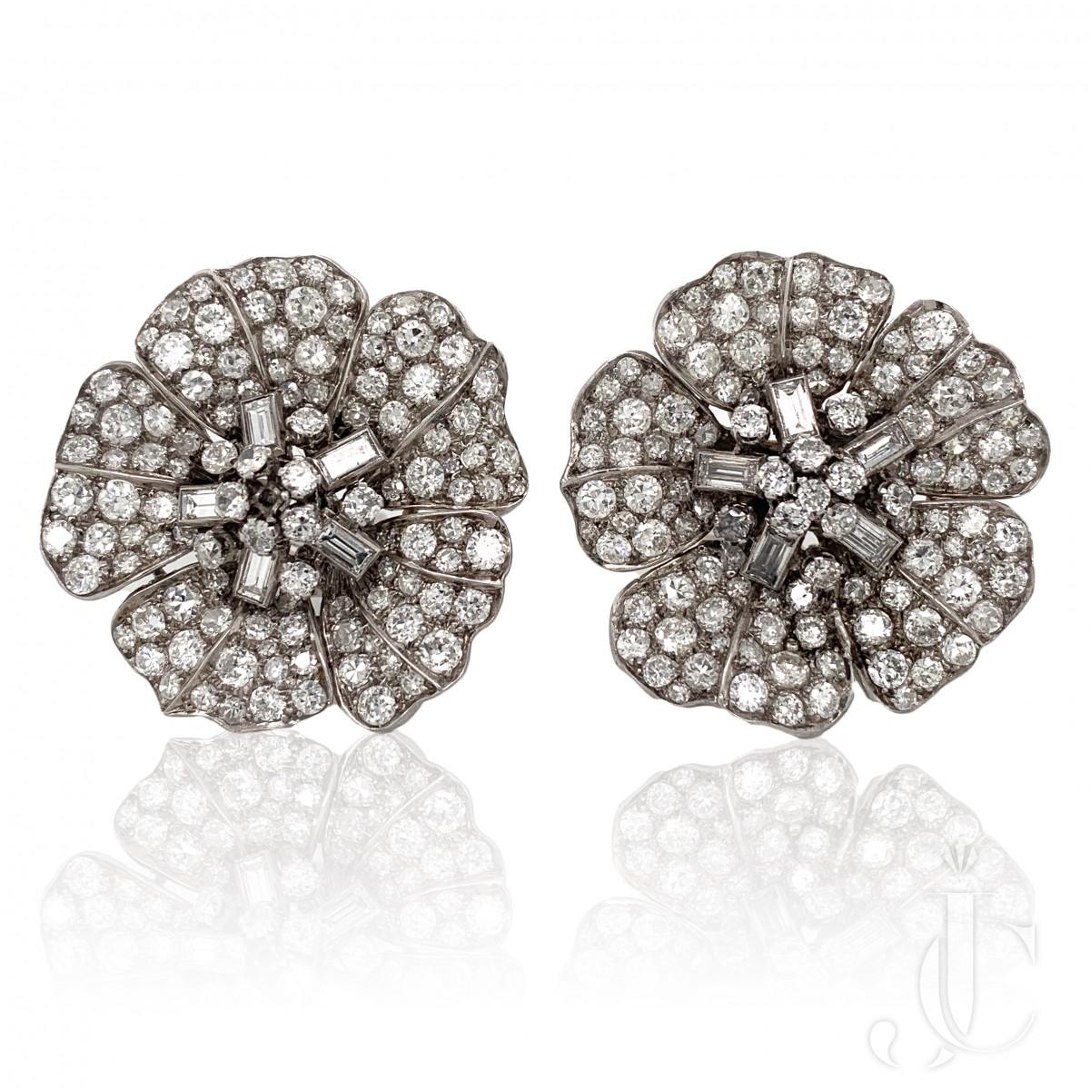 ART DECO PLATINUM DIAMOND 14CTS FLOWER EARRINGS