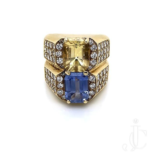 BLUE & YELLOW SAPPHIRE DIAMOND RING