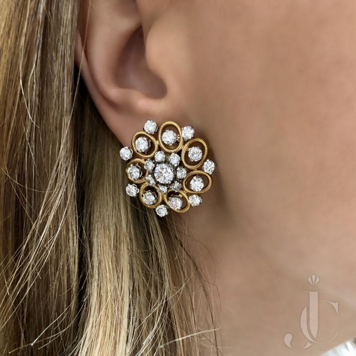 18kt Yellow Gold and Platinum Diamond Earrings, circa 1965