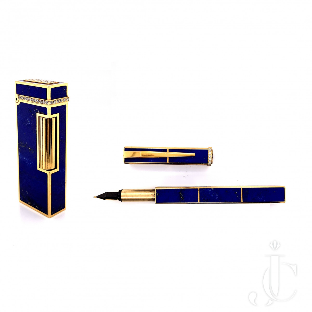 An 18k gold lapis and diamond pen and lighter by Boucheron