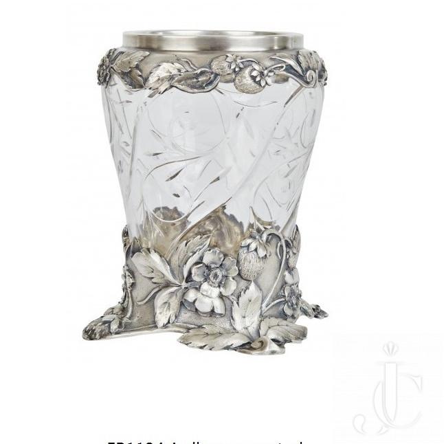 A silver-mounted ART NOUVEAU cut glass vase by Boucheron PARIS