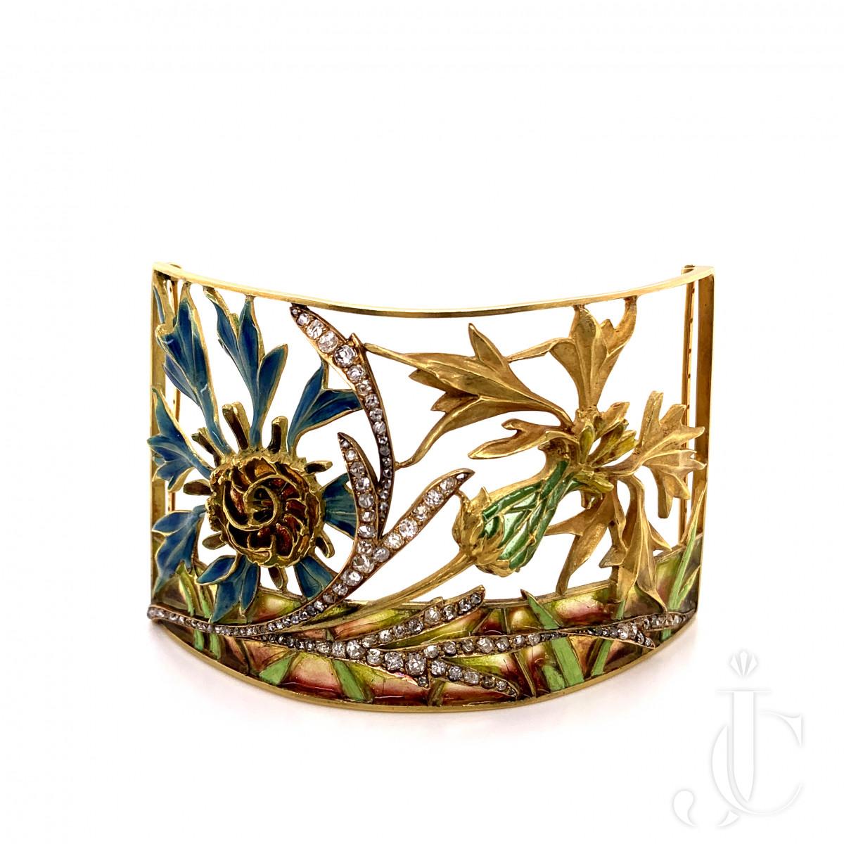 An 18 carat gold French plique-a-jour enameled Art Nouveau choker set with  by Gaillard