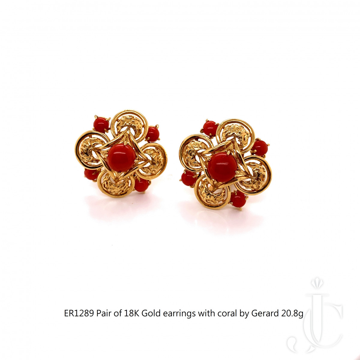 Pair of 18K Gold French earrings with coral by Gerard