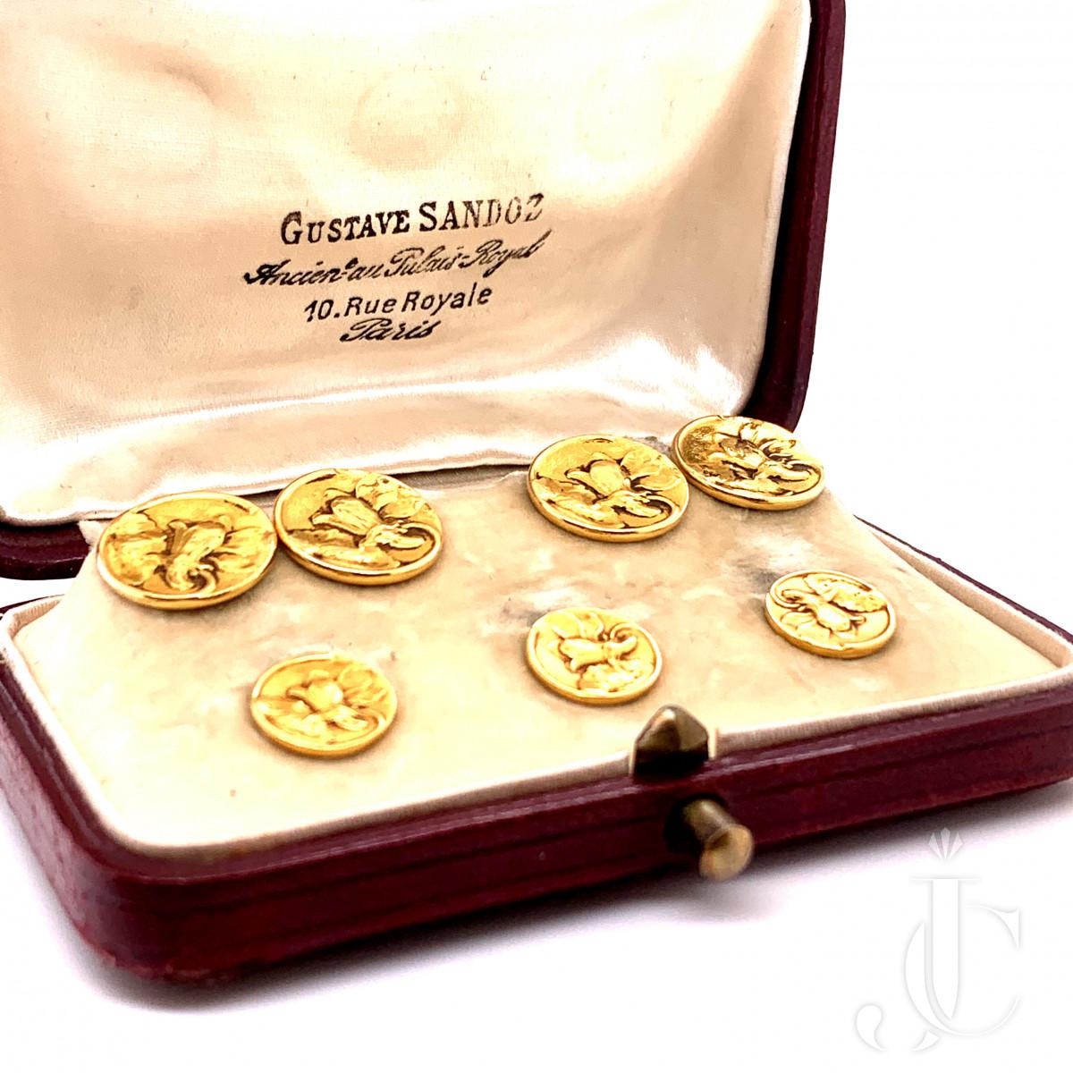 18K gold pair of cufflinks by Gustave Sandoz