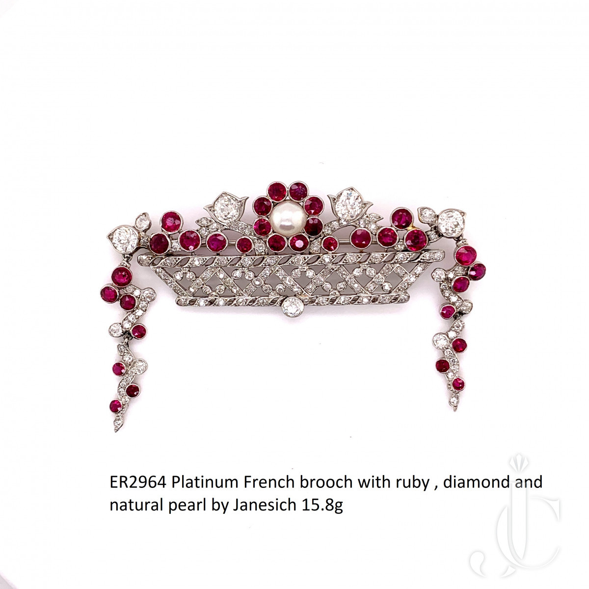 Platinum French brooch with ruby , diamond and natural pearl by Janesich