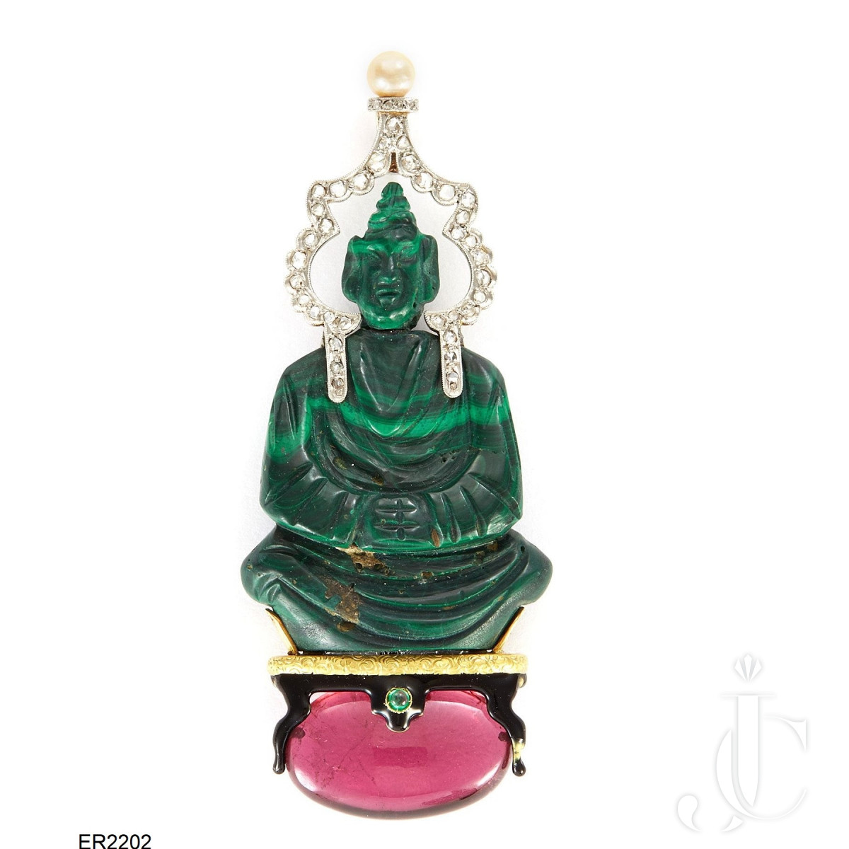 French 18K Gold pendant with malachite, enamel, ruby and diamond by SasPortas