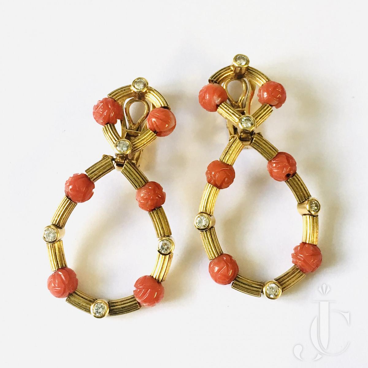 Coral Diamond Earrings