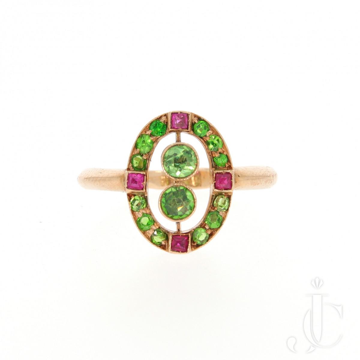 Demantoid Ruby Ring