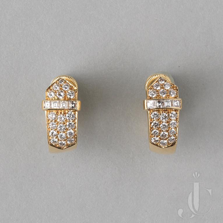 David Morris Gold and Diamond Earclips