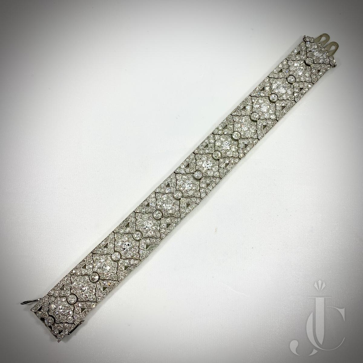 French Platinum Art Deco Diamond Bracelet
