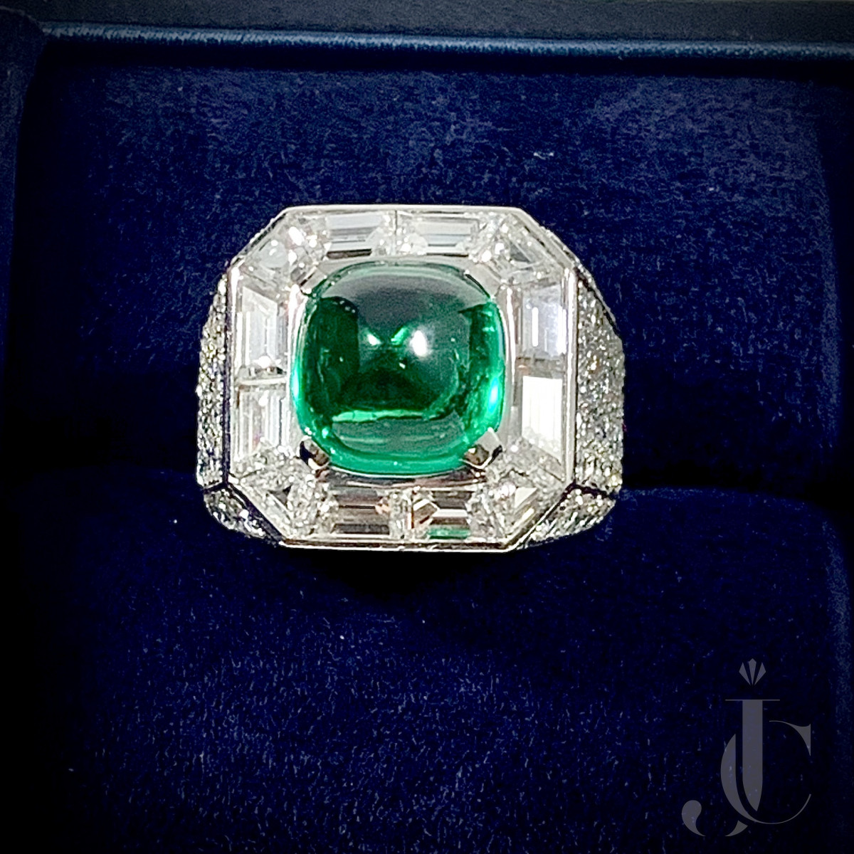 Bulgari Platinum Cabochon Emerald and Diamond Ring