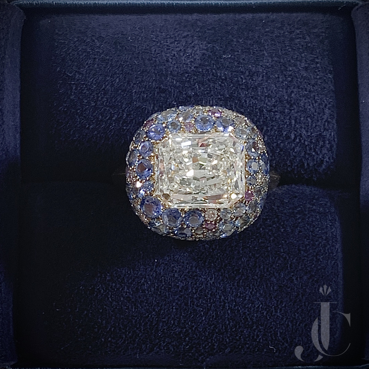 Taffin Radiant Diamond and Pave Sapphire Ring