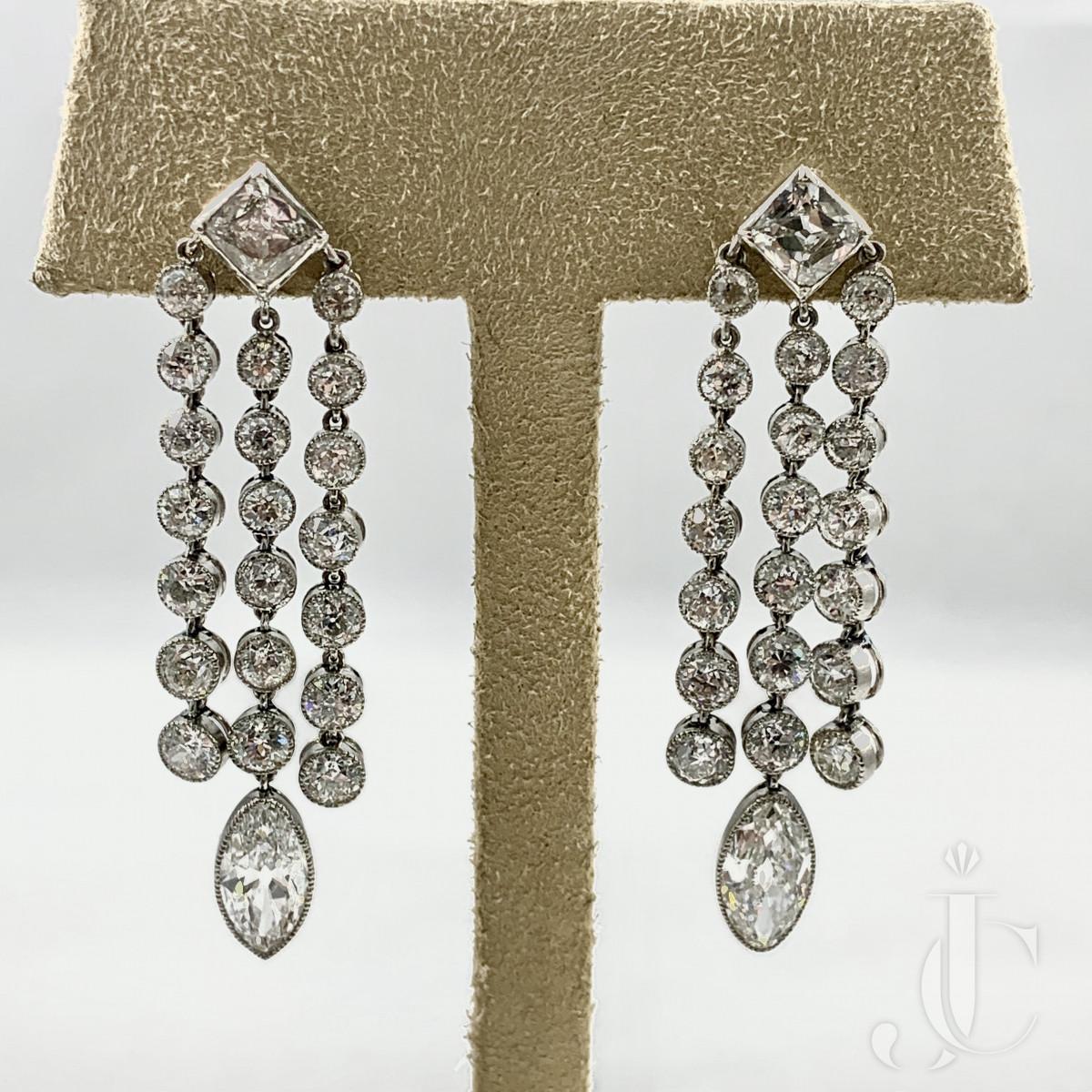 Pair of Platinum Art Deco Diamond Pendant Earrings