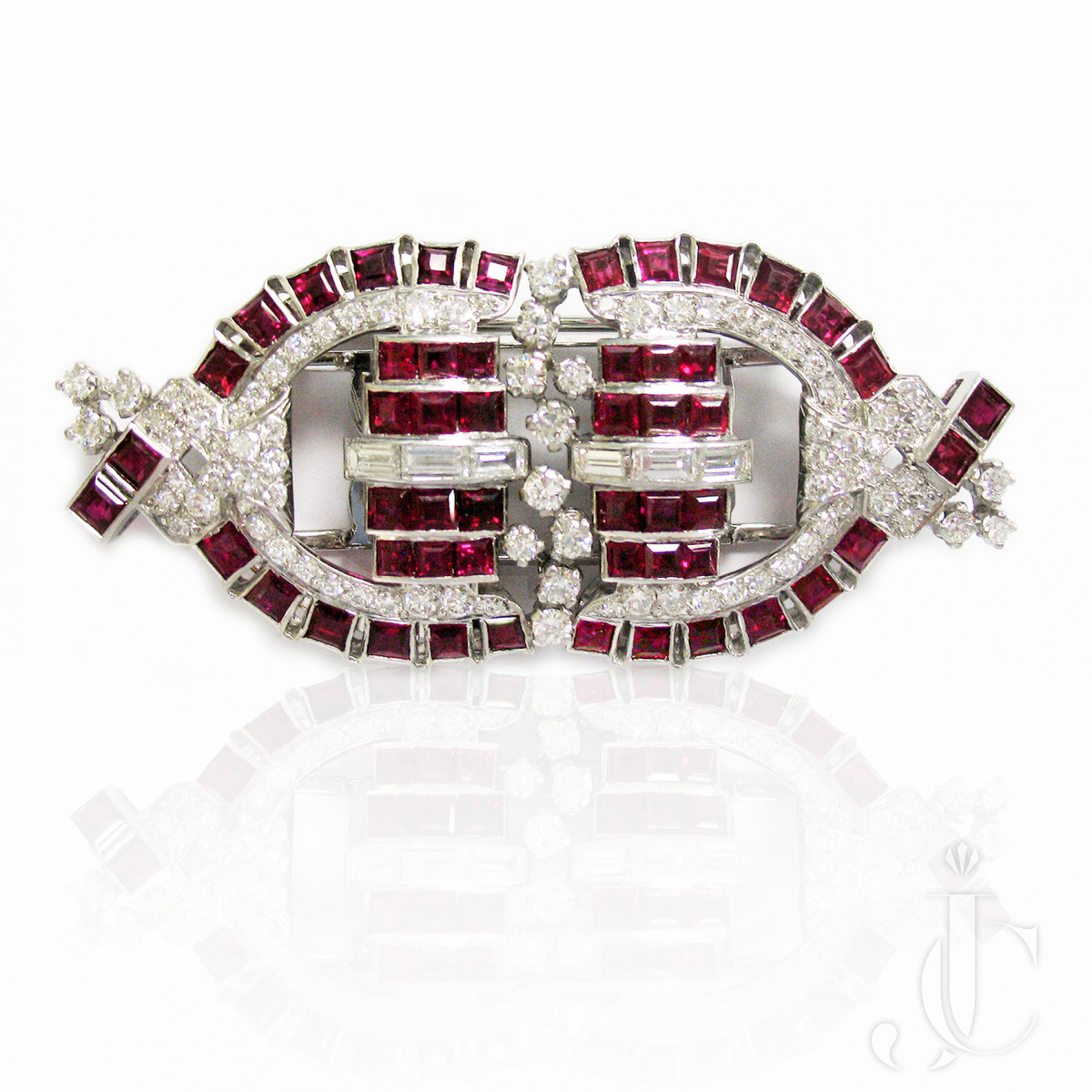 Platinum Ruby and Diamond Double Clips Brooch