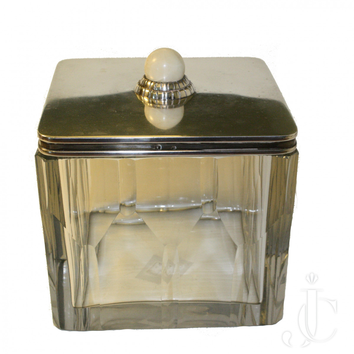 France Art Deco  Silver,Agate and Glass Cosmetic Cotton Box or Tea Caddy