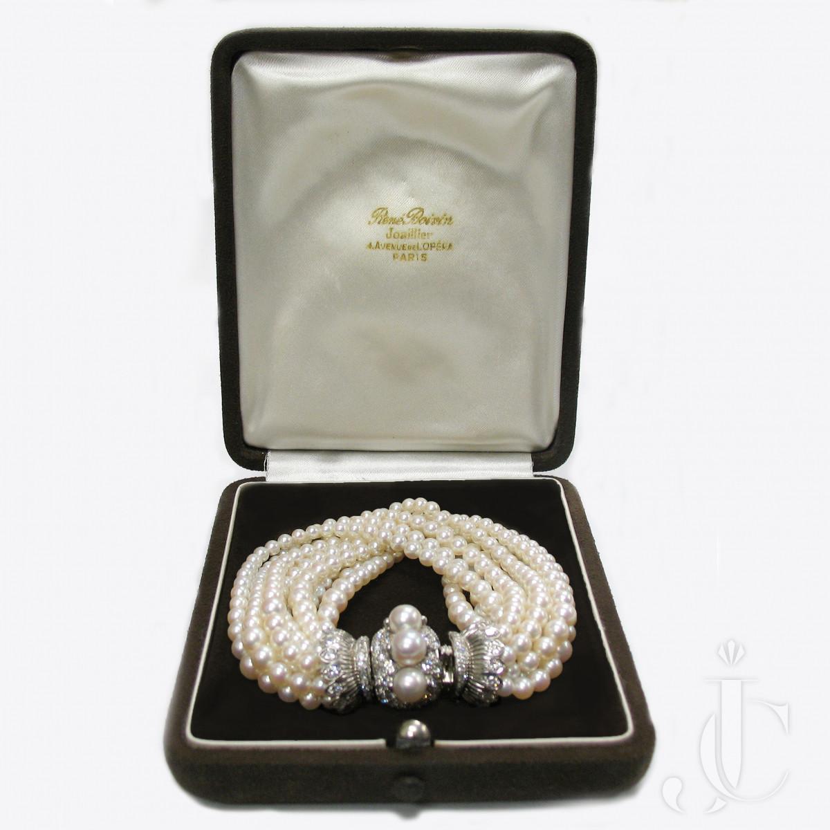 Boivin Platinum Pearl and Diamond Torsade Bracelet