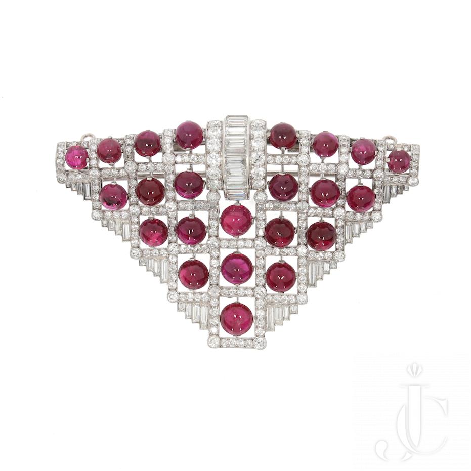 Art Deco Ruby Diamond Brooch