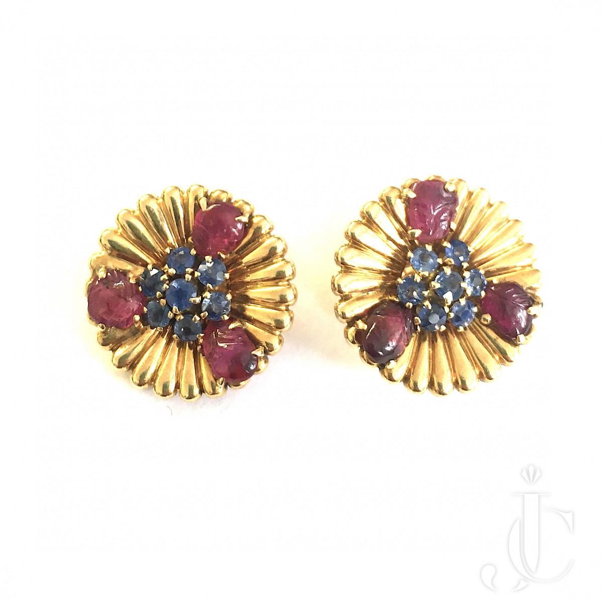 Mellerio Paris Sapphire and Ruby Earrings