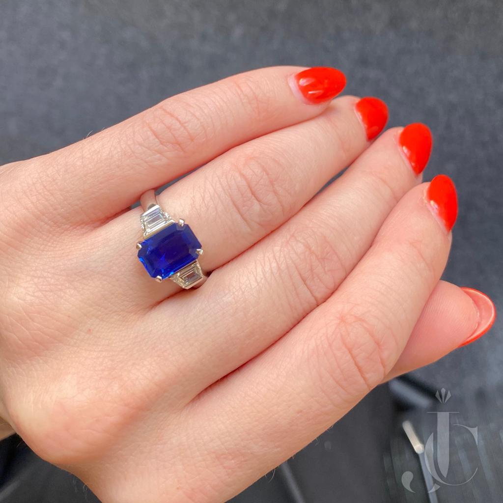 Platinum Kashmir Sapphire and Diamonds Ring