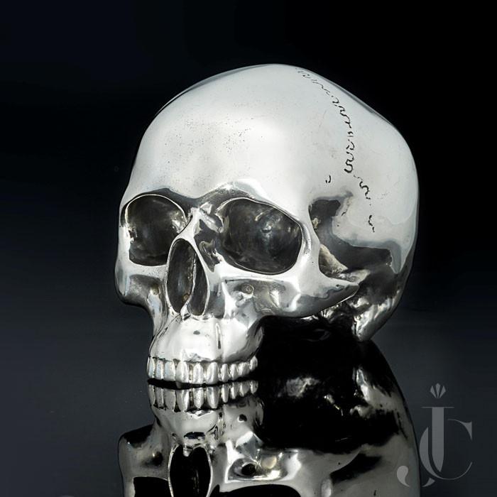 Life-Size Sterling Silver Skull by Hancocks