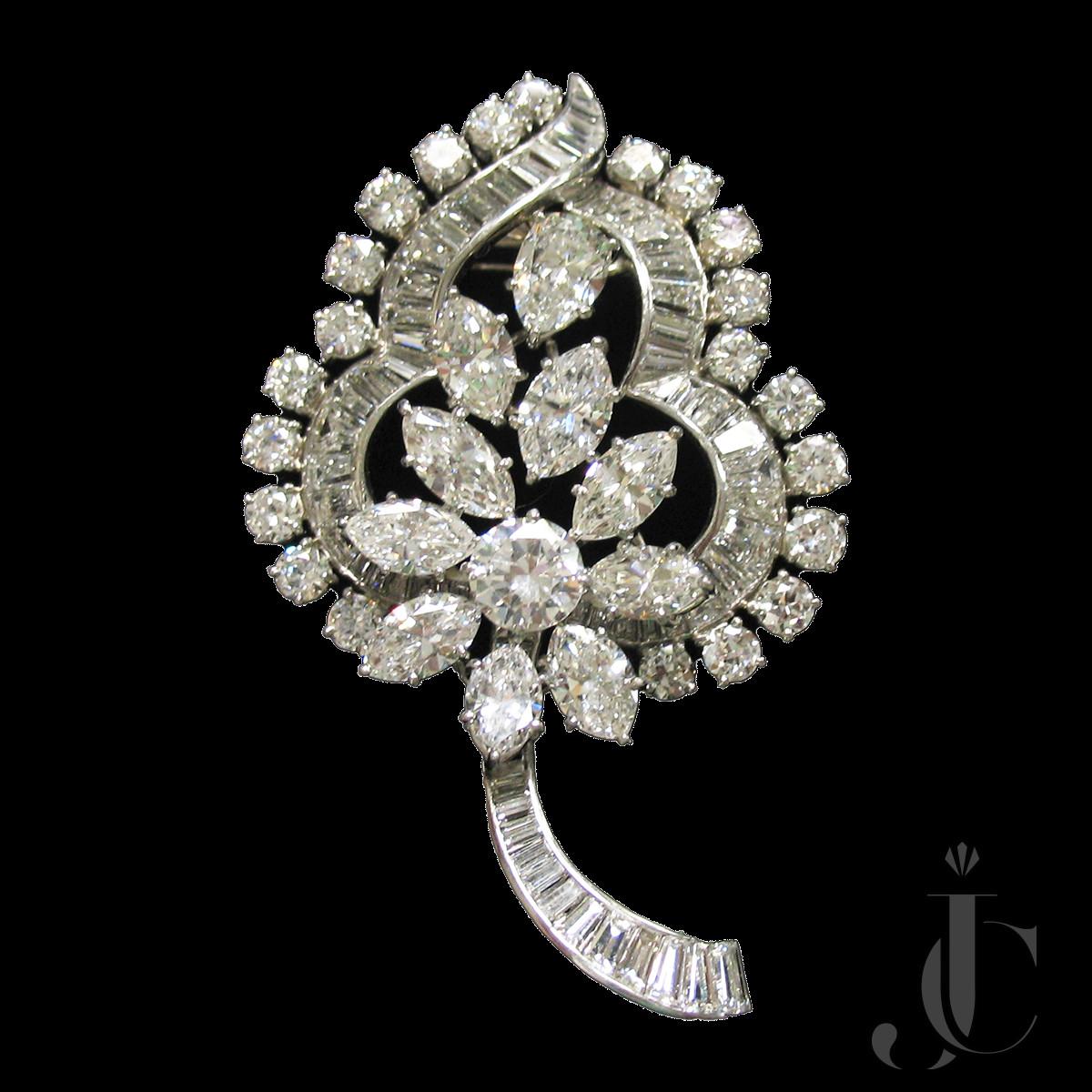 Platinum Diamonds Leaf Brooch, circa 1965