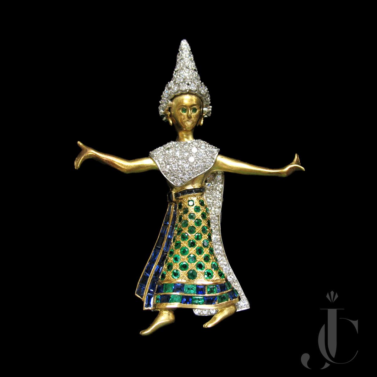 18kt and Plat Diamond and Gem Set Thai Lady Brooch, New York, circa 1958