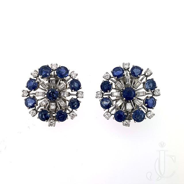 Platinum Diamond Sapphire Earrings/Clips