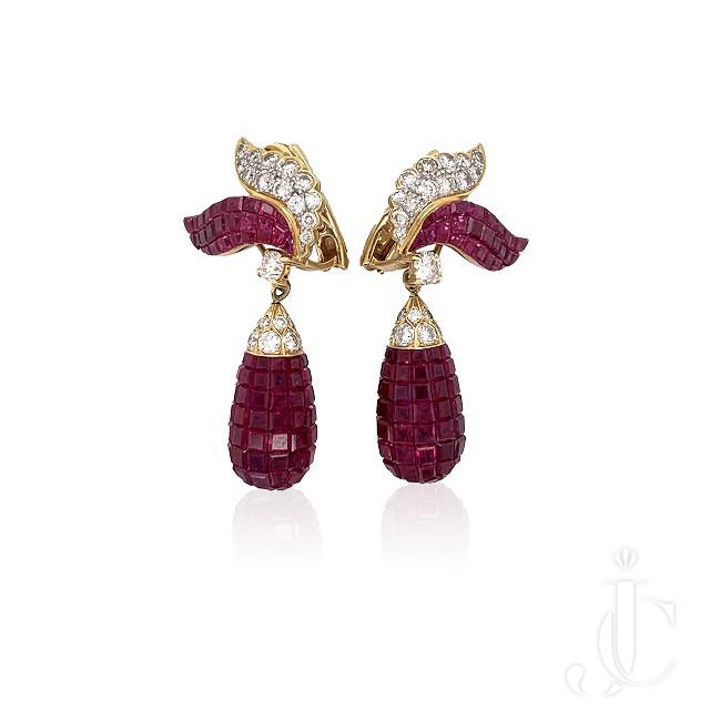 Invisibly Set Burma Ruby Earrings