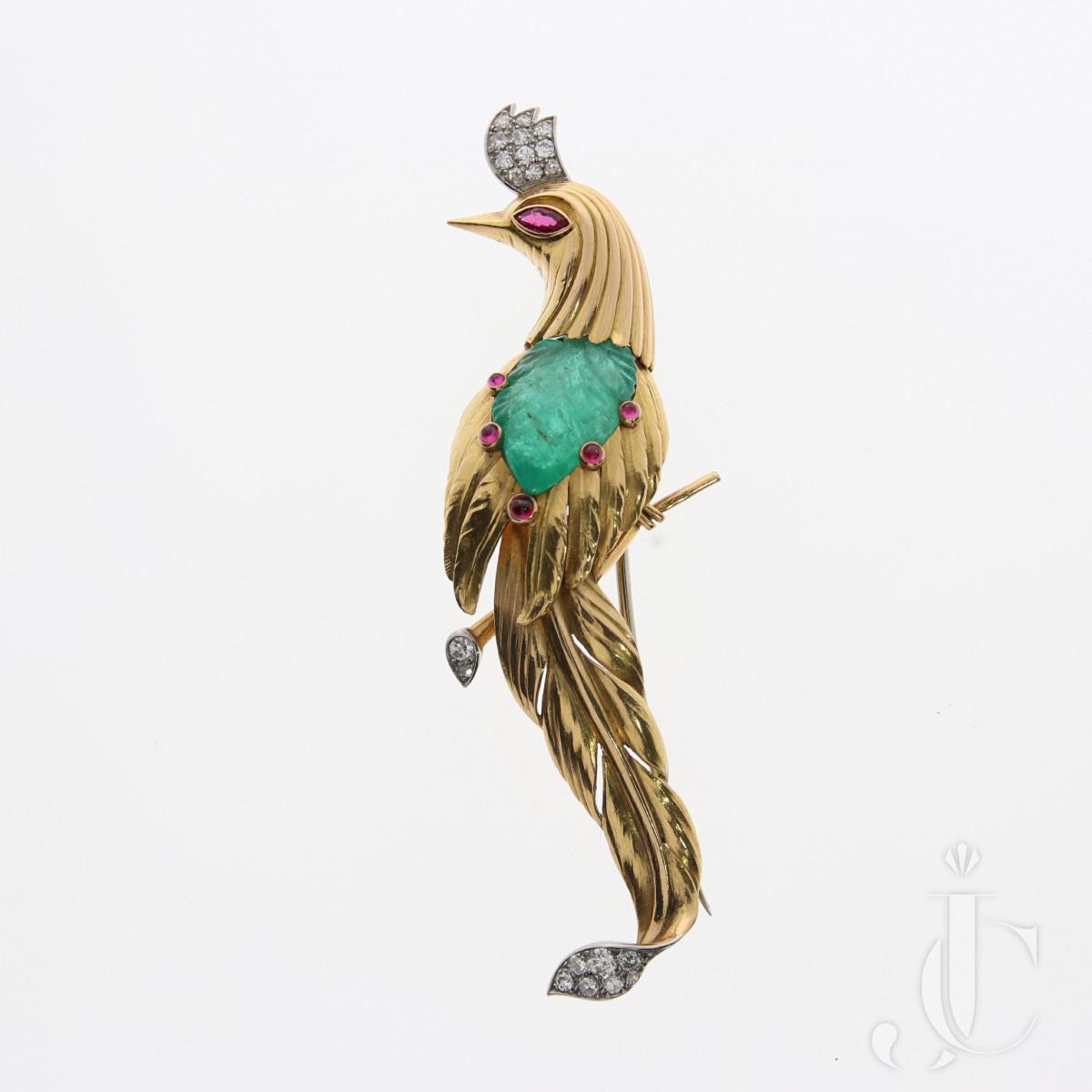 Retro Bird Clip Brooch