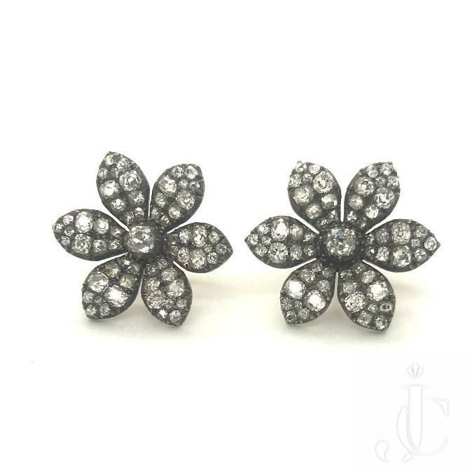 Antique Diamond Flower Earrings