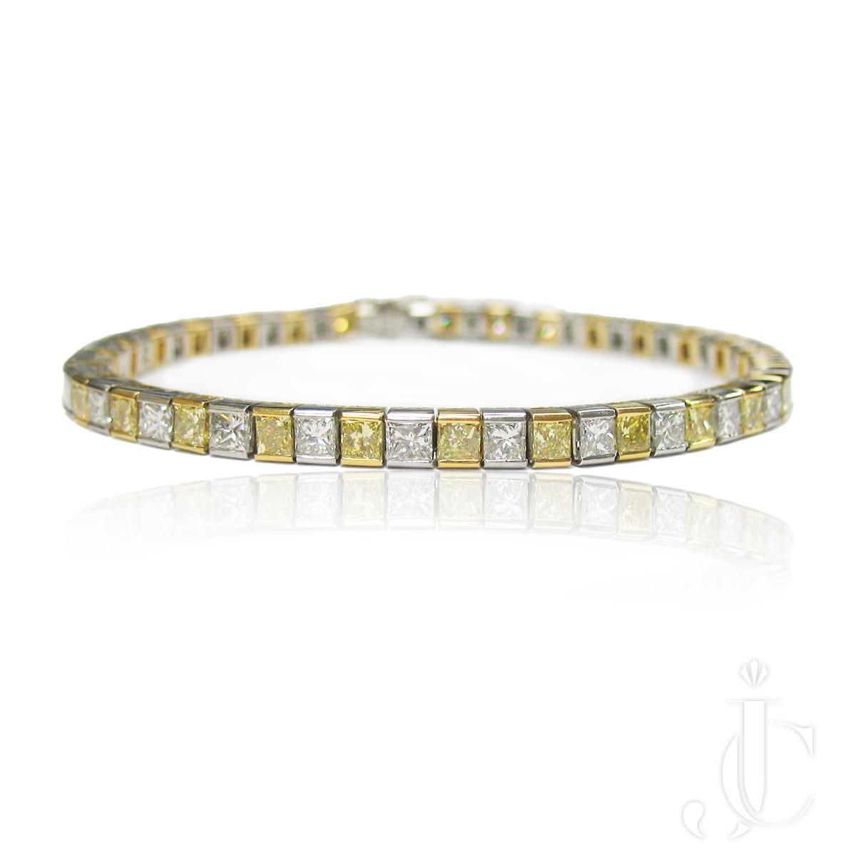 Princess cut Yellow and White Diamond Bracelet